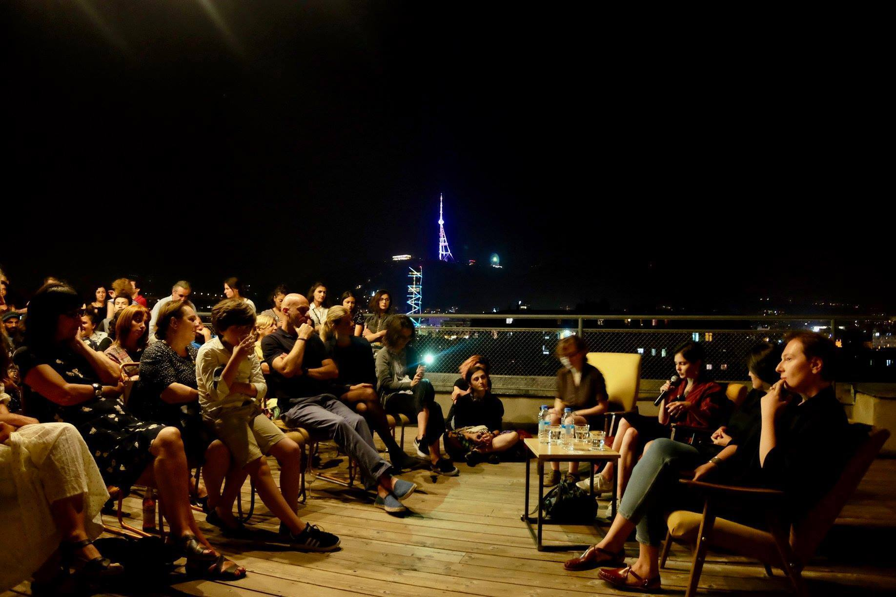 The audience at a Chai Khana rooftop film screening