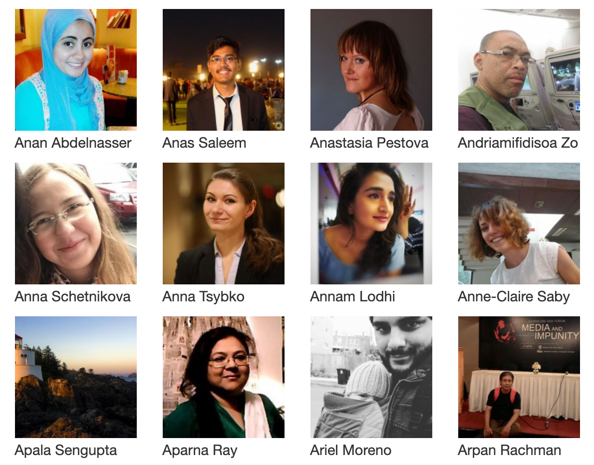 Some of Global Voices' Community Council members (screengrab)