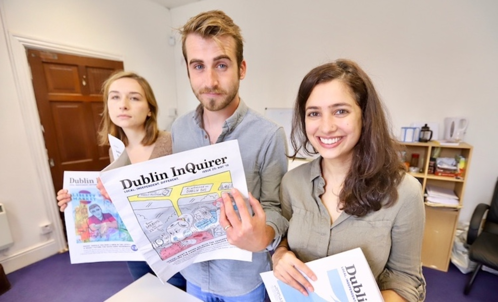 Managing editor Lois Kapila (right) and the Dublin Inquirer team (credit: Adrian Weckler)